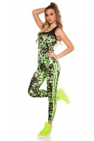 Trendy workout-sport outfit met top & leggings neongeel